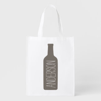 Personalized Text with Bottle Illustration Grocery Bag