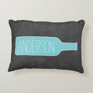 Personalized Text with WIne Bottle Illustration Accent Pillow