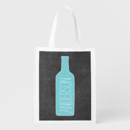 Personalized Text with WIne Bottle Illustration Grocery Bag