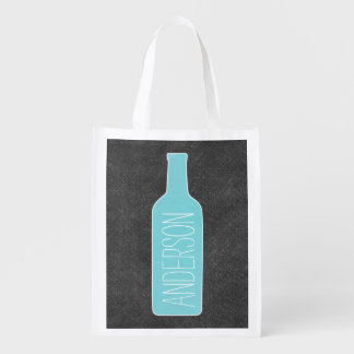 Personalized Text with WIne Bottle Illustration Reusable Grocery Bags