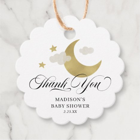Personalized Thank You Baby Shower Moon & Stars Favor Tags
