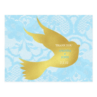 Personalized Thank You Blue Lace New Baby Postcard