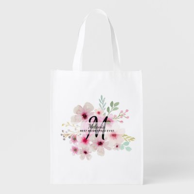 Personalized Thank You Bridal Party Bridesmaid Grocery Bag
