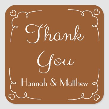 Professional Business Personalized Thank You Brown And White Heart Square Sticker
