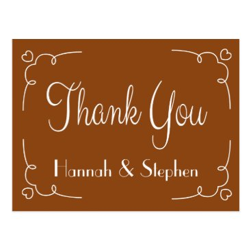 Professional Business Personalized Thank You Brown And White Hearts Postcard