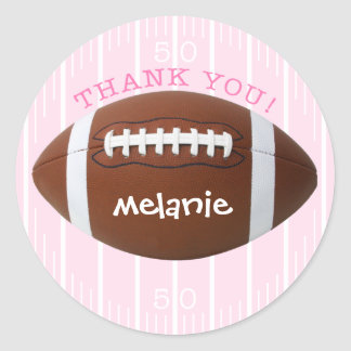 Personalized Thank You Football Sticker