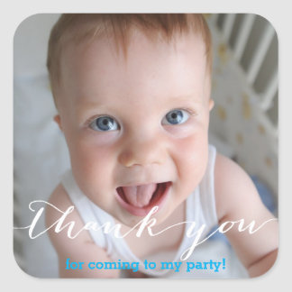 personalized thank you for coming to my party square sticker
