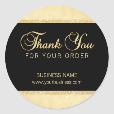 Professional Business Personalized Thank You For Your Order Gold Black Classic Round Sticker