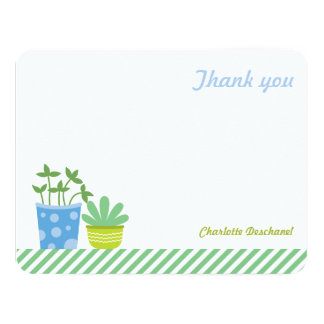 Personalized Thank You Notes Retro Mint Blue Plant Card