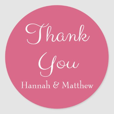 Professional Business Personalized Thank You Pink And White Heart Classic Round Sticker