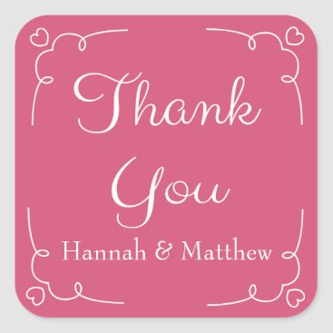 Professional Business Personalized Thank You Pink And White Heart Square Sticker