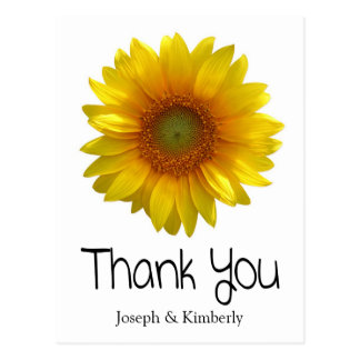Personalized Thank You Sunflower Greeting Postcard