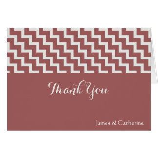Personalized Thank Yous, Cranberry/Gray w Chevron Card