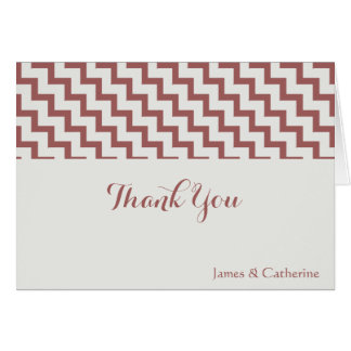 Personalized Thank Yous, Gray/Cranberry w Chevron Card