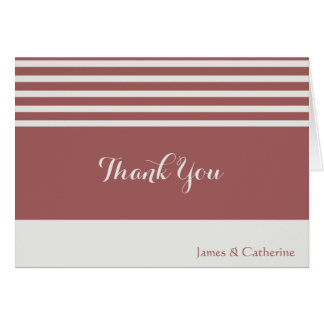 Personalized Thank Yous, Gray/Cranberry w stripes Card