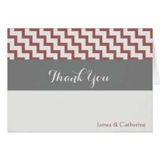 Personalized Thank Yous, Grays/Cranberry w Chevron Card