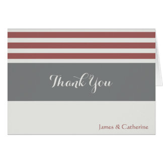 Personalized Thank Yous, Grays/Cranberry w stripes Card