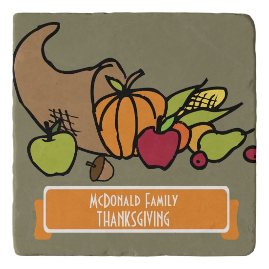 Personalized Thanksgiving Dinner Trivet w Cornopia