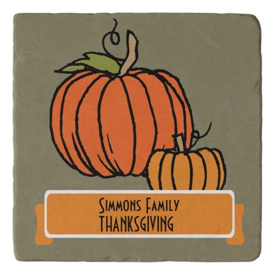 Personalized Thanksgiving Dinner Trivet w Pumpkin