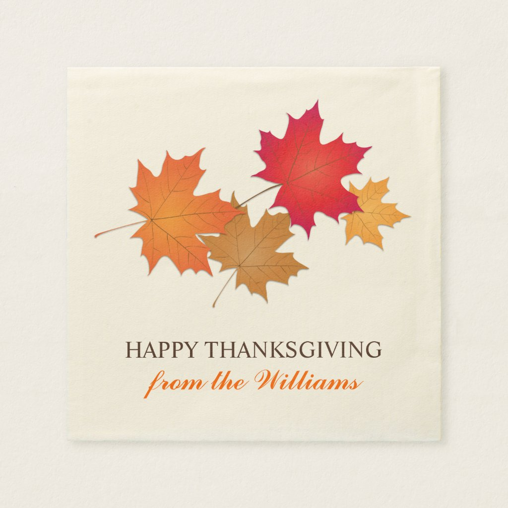 Personalized Thanksgiving Napkins | Fall Leaves