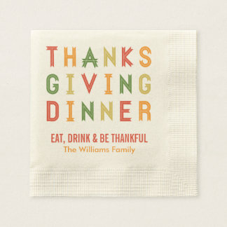 Personalized Thanksgiving Napkins   Fall Letters Coined Cocktail Napkin