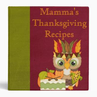 Personalized Thanksgiving Owl Recipe Binder