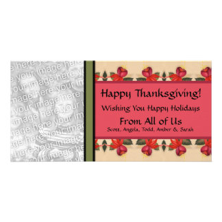 Personalized Thanksgiving Vintage Fuchsia Floral Photo Card Template