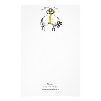Personalized The LORD is my shepherd Psalm 23 Stationery