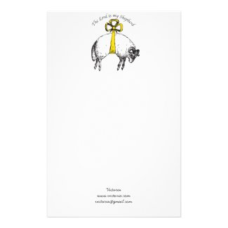 Personalized The LORD is my shepherd Psalm 23 Stationery Paper