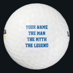 "Personalized The man myth legend golf ball set<br><div class=""desc"">Personalized The man myth legend golf ball set. Custom The man the myth the legend golf balls. Personalized golf ball set with name or monogram. Customizable template with fun quote / saying. Funny manly gift idea for golfers and golfing fans. Create your own for sporty dad, father, uncle, grandpa, husband,...</div>"