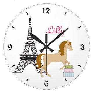 Personalized The Pretty Ponies Paris Horse Clock