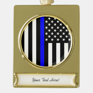 Personalized Thin Blue Line American Flag Gold Plated Banner Ornament