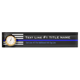 Personalized Thin Blue Line American Flag on a Desk Name Plate