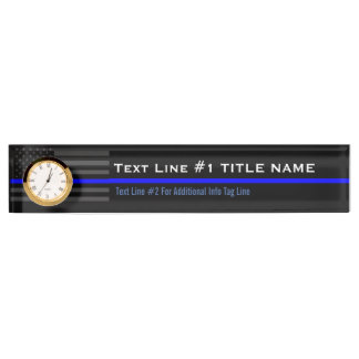 Personalized Thin Blue Line American Flag on a Nameplate