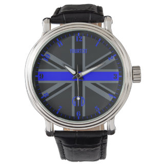 Personalized Thin Blue Line Dial Union Jack Wrist Watches