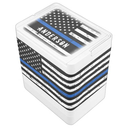 Personalized Thin Blue Line Flag Police Cooler