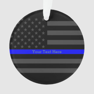 Personalized Thin Blue Line Grey US Flag Decors Ornament
