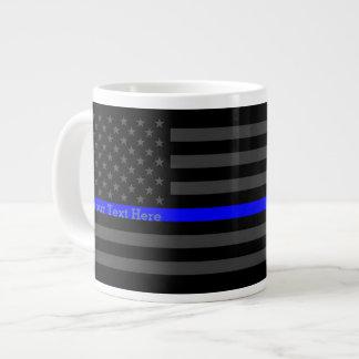 Personalized Thin Blue Line Grey US Flag Design Large Coffee Mug