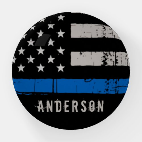 Personalized Thin Blue Line Police Officer Paperweight