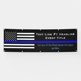 Personalized Thin Blue Line US Flag Medium Display Banner
