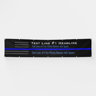 Personalized Thin Blue Line USA Flag Long Display Banner