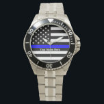 "Personalized Thin Blue Line Watch<br><div class=""desc"">Personalized Thin Blue Line watch. Perfect gift for gathering,  memorial,  remembrance and any special occasions.</div>"