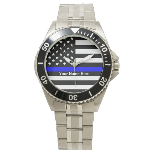 Personalized Thin Blue Line Watch