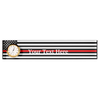 Personalized Thin Red Line American Flag Display Desk Name Plate