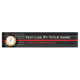Personalized Thin Red Line American Flag on a Name Plate