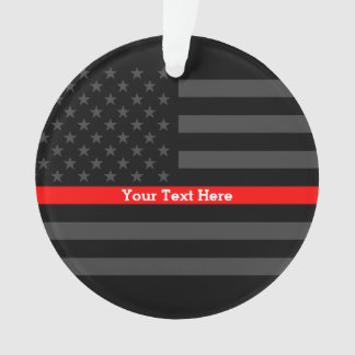 Personalized Thin Red Line Grey US Flag Decors Ornament