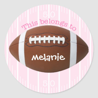 """Personalized """"This belongs to"""" Football Sticker"""