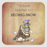 """Personalized This Book Belongs to Owl Bookplate<br><div class=""""desc"""">Cute bookplate label stickers for book identification- &#39;Read This Book Belongs to&#39; at the top in elegant lettering with custom name underneath. At the bottom is a cute owl cartoon carrying a load of books. With old, worn paper look background. Click Customize option to change text colors, size, and font...</div>"""