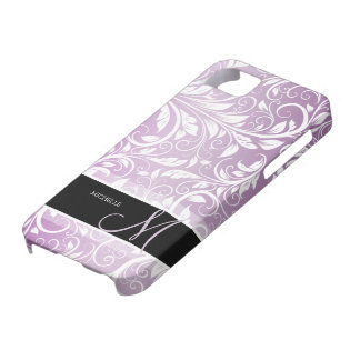 Personalized Thistle Purple & White Floral Damask iPhone 5 Cases