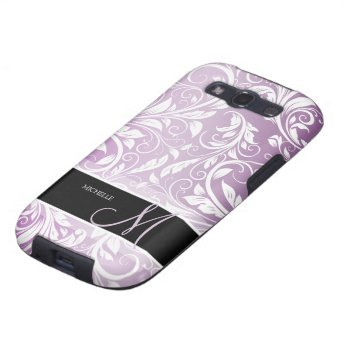 Personalized Thistle Purple & White Floral Damask Samsung Galaxy S3 Case